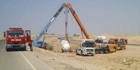 الشاحنة المتضرّرة كانت تنقل الغاز من ميناء ريغ إلى بوشهر